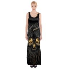 Art Fiction Black Skeletons Skull Smoke Maxi Thigh Split Dress