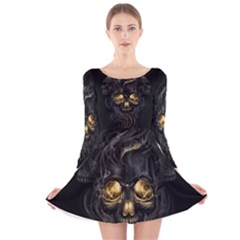 Art Fiction Black Skeletons Skull Smoke Long Sleeve Velvet Skater Dress