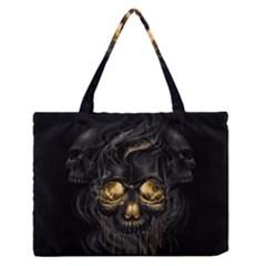 Art Fiction Black Skeletons Skull Smoke Medium Zipper Tote Bag