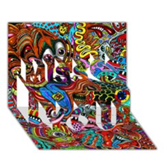Art Color Dark Detail Monsters Psychedelic Miss You 3D Greeting Card (7x5)