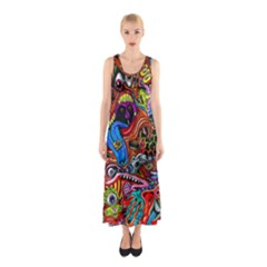 Art Color Dark Detail Monsters Psychedelic Sleeveless Maxi Dress