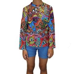 Art Color Dark Detail Monsters Psychedelic Kids  Long Sleeve Swimwear