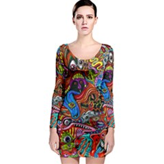 Art Color Dark Detail Monsters Psychedelic Long Sleeve Bodycon Dress