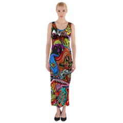 Art Color Dark Detail Monsters Psychedelic Fitted Maxi Dress