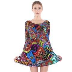 Art Color Dark Detail Monsters Psychedelic Long Sleeve Velvet Skater Dress