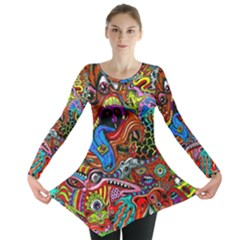 Art Color Dark Detail Monsters Psychedelic Long Sleeve Tunic