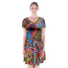 Art Color Dark Detail Monsters Psychedelic Short Sleeve V-neck Flare Dress