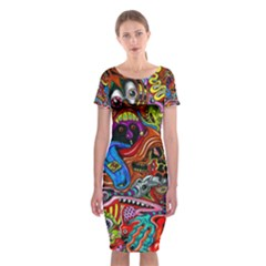 Art Color Dark Detail Monsters Psychedelic Classic Short Sleeve Midi Dress
