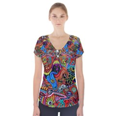 Art Color Dark Detail Monsters Psychedelic Short Sleeve Front Detail Top