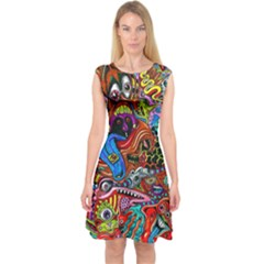 Art Color Dark Detail Monsters Psychedelic Capsleeve Midi Dress