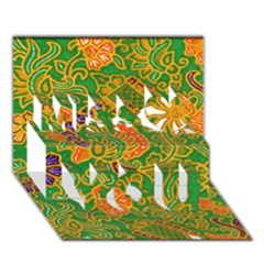 Art Batik The Traditional Fabric Miss You 3D Greeting Card (7x5)