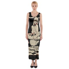 23 Sexy Conte Sketch Girl In Dark Room Naked Boobs Bathing Country Fitted Maxi Dress