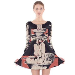 23 Sexy Conte Sketch Girl In Dark Room Naked Boobs Bathing Country Long Sleeve Velvet Skater Dress
