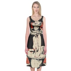 23 Sexy Conte Sketch Girl In Dark Room Naked Boobs Bathing Country Midi Sleeveless Dress