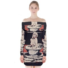 23 Sexy Conte Sketch Girl In Dark Room Naked Boobs Bathing Country Long Sleeve Off Shoulder Dress