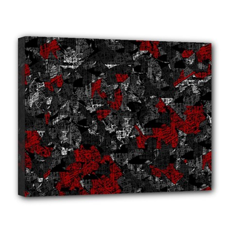 Gray and red decorative art Canvas 14  x 11