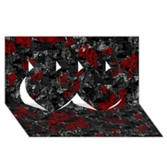 Gray and red decorative art Twin Hearts 3D Greeting Card (8x4)