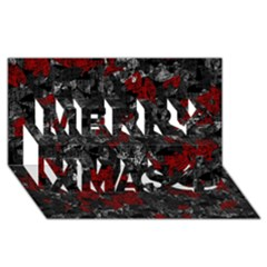 Gray and red decorative art Merry Xmas 3D Greeting Card (8x4)