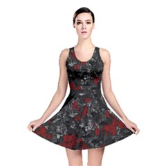 Gray and red decorative art Reversible Skater Dress