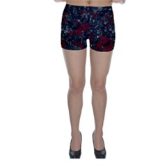 Gray and red decorative art Skinny Shorts