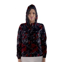 Gray and red decorative art Hooded Wind Breaker (Women)