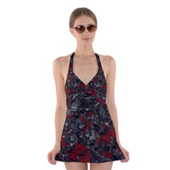 Gray and red decorative art Halter Swimsuit Dress