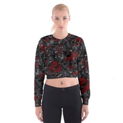 Gray and red decorative art Women s Cropped Sweatshirt