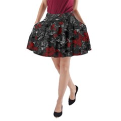 Gray and red decorative art A-Line Pocket Skirt