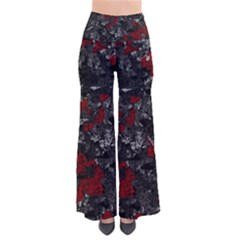 Gray and red decorative art Pants