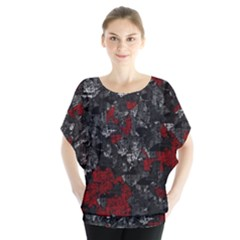 Gray And Red Decorative Art Blouse