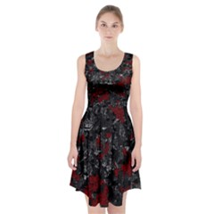 Gray and red decorative art Racerback Midi Dress