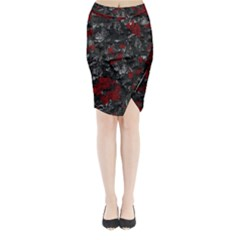Gray and red decorative art Midi Wrap Pencil Skirt