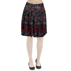 Gray and red decorative art Pleated Skirt