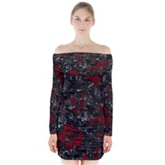 Gray and red decorative art Long Sleeve Off Shoulder Dress