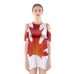 Autumn Maple Leaf Clip Art Cutout Shoulder Dress