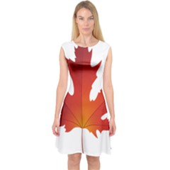 Autumn Maple Leaf Clip Art Capsleeve Midi Dress