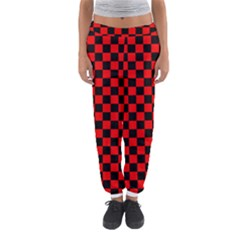 Black And Red Checkerboard Red Black Pattern Women s Jogger Sweatpants