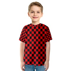 Black And Red Checkerboard Red Black Pattern Kids  Sport Mesh Tee