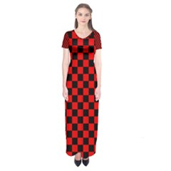Black And Red Checkerboard Red Black Pattern Short Sleeve Maxi Dress