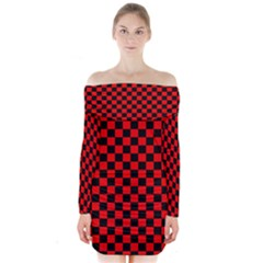 Black And Red Checkerboard Red Black Pattern Long Sleeve Off Shoulder Dress