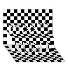 Black And White Checkerboard Pattern Miss You 3D Greeting Card (7x5)