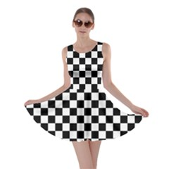 Black And White Checkerboard Pattern Skater Dress