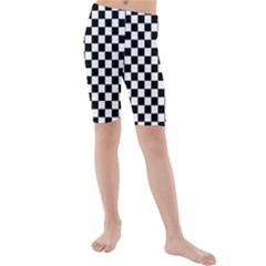 Black And White Checkerboard Pattern Kids  Mid Length Swim Shorts