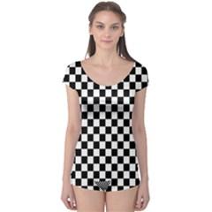 Black And White Checkerboard Pattern Boyleg Leotard