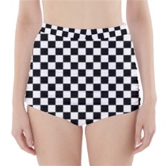 Black And White Checkerboard Pattern High-Waisted Bikini Bottoms