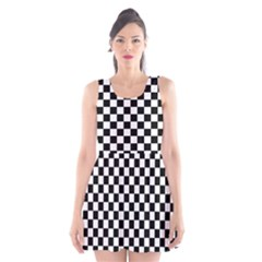 Black And White Checkerboard Pattern Scoop Neck Skater Dress