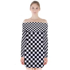 Black And White Checkerboard Pattern Long Sleeve Off Shoulder Dress