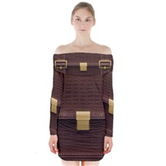 Brown Bag Long Sleeve Off Shoulder Dress