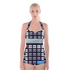 Calculator Boyleg Halter Swimsuit