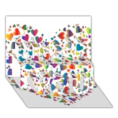 Chaotic Colorful Heart Fractal Miss You 3D Greeting Card (7x5)